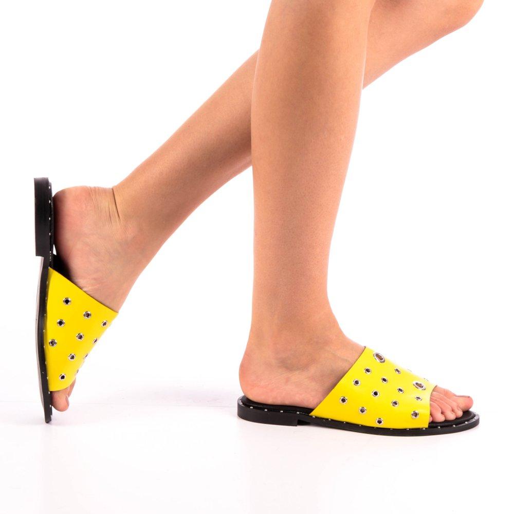 Papuci dama Laura galbeni